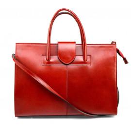 Prostorná jedinečná tmavě červená kožená kabelka do ruky Business Two