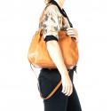 Kožená luxusní hnědá kabelka do ruky i přes rameno Lorreine