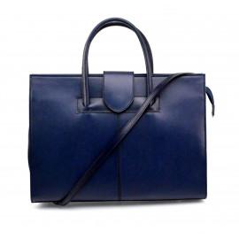 Kožená praktická modrá kabelka Business Two