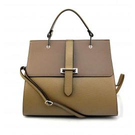Kožená luxusní béžová taupe kabelka do ruky adeline