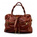 Kožená luxusní béžová beige kabelka do ruky Adina