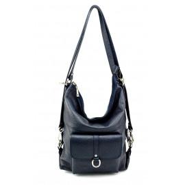 Praktická kožená větší tmavě modrá kabelka a batoh 2v1 Karin Two