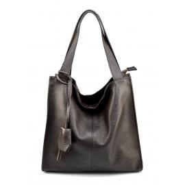 Kožená luxusní tmavě hnědá kabelka přes rameno Darci Little