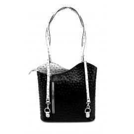 Kožená luxusní černo šedá crossbody kabelka Royal