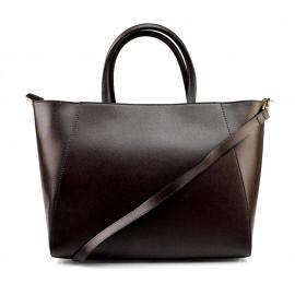 Kožená luxusní tmavě hnědá coffee kabelka přes rameno Daveney