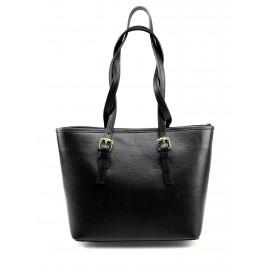 Kožená luxusní menší černá kabelka přes rameno Alisane Little
