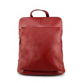 Praktická tmavě červená kožená kabelka a batoh 2v1 Aveline