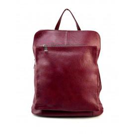 Praktická červená bordó kožená kabelka a batoh 2v1 Aveline