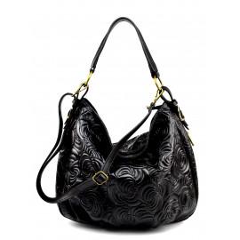 Kožená černá kabelka na rameno carolin