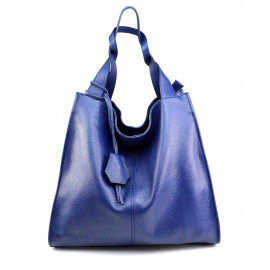 Kožená luxusní sytě modrá kabelka přes rameno Darci
