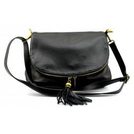 Kožená větší černá crossbody kabelka na rameno tori