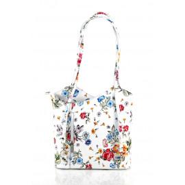 Kožená luxusní s motivem květin sněhově bílá crossbody kabelka Royal Flower