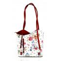 Kožená luxusní s motivem květin sněhově bílá s červenou crossbody kabelka Royal Flower