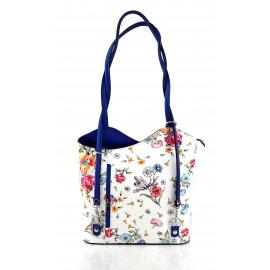 Kožená luxusní s motivem květin sněhově bílá s modrou crossbody kabelka Royal Flower