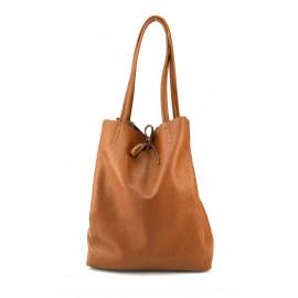 Kožená hnědá camel shopper taška na rameno Melani Two