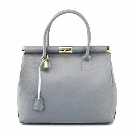 Kožená luxusní světle šedá kabelka Aliste