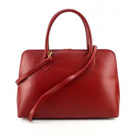 Kožená tmavě červená kabelka do ruky agi
