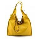Kožená luxusní hořčicově žlutá kabelka přes rameno Darci Little