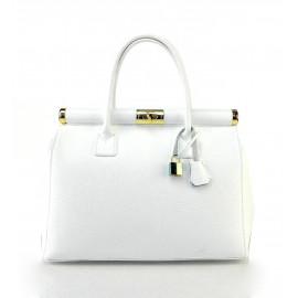 Stylová luxusní sněhově bílá kožená kabelka do ruky Aliste