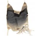 Kožená béžová taupe shopper taška na rameno melani