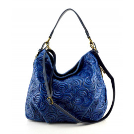 Velká designová sytě modrá kožená kabelka přes rameno Carolin