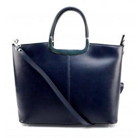 Menší stylová tmavě modrá kožená kabelka do ruky Amelia