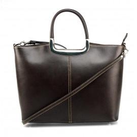 Kožená luxusní tmavě hnědá brown kabelka Amelia