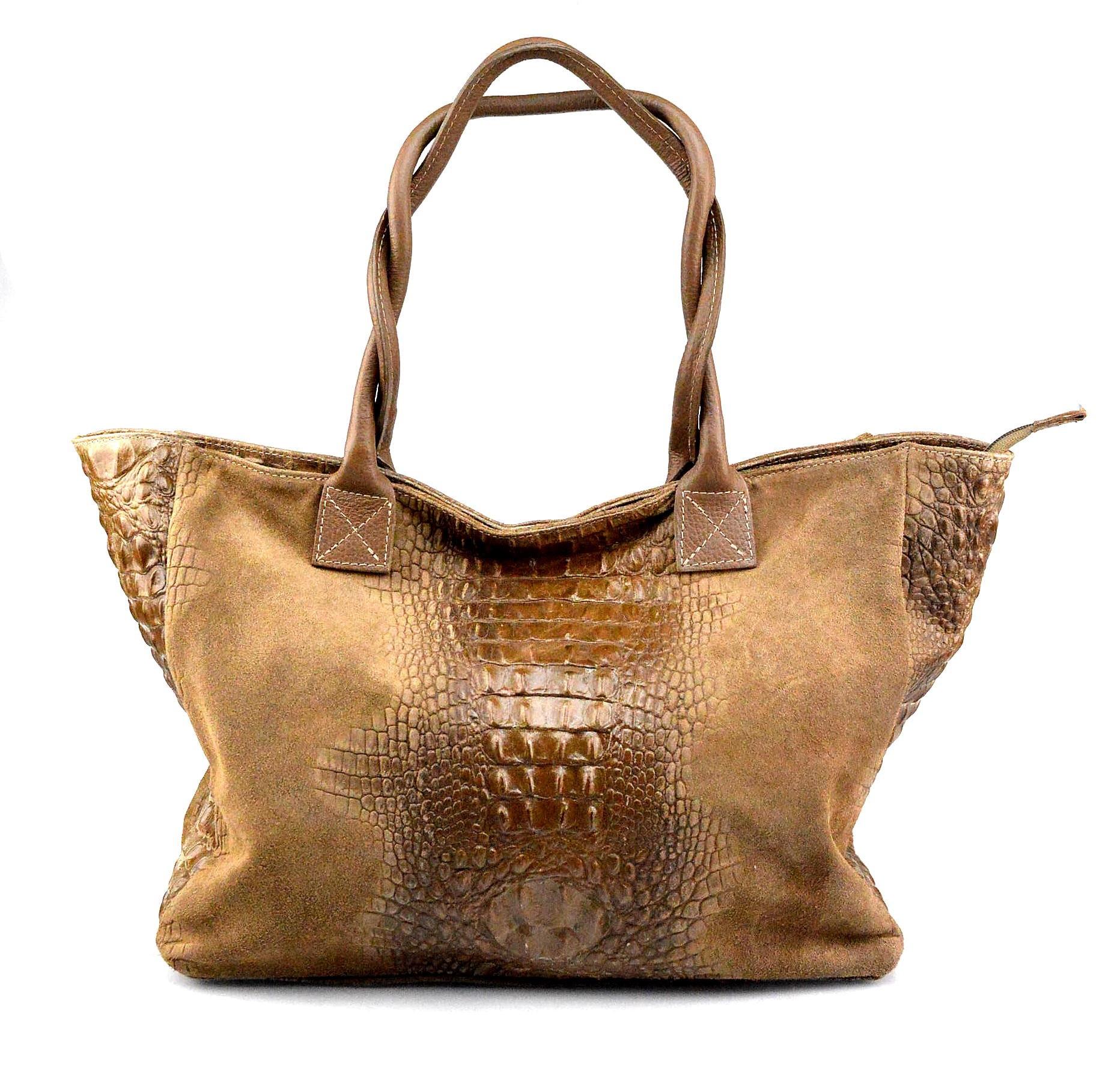 Kožená velká krokodýlí béžová taupe taška na rameno Jeana
