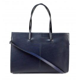Kožená praktická modrá velká kabelka Business