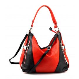 Kožená luxusní větší černá s červenou kabelka přes rameno Claudine