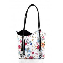 Kožená luxusní s motivem květin sněhově bílá s černou crossbody kabelka Royal Flower