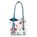 Kožená luxusní s motivem květin sněhově bílá se světle modrou crossbody kabelka Royal Flower