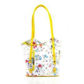 Kožená luxusní s motivem květin sněhově bílá se žlutou crossbody kabelka Royal Flower