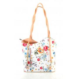 Kožená luxusní s motivem květin sněhově bílá s růžovou crossbody kabelka Royal Flower