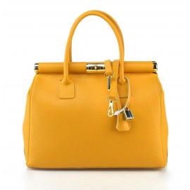 Kožená luxusní hořčicově žlutá kabelka Aliste