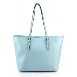 Kožená luxusní velká světle modrá kabelka přes rameno alisane