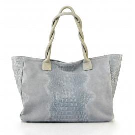 Kožená velká krokodýlí světle šedá taška na rameno jeana