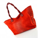 Kožená velká krokodýlí tmavě červená taška na rameno Jeana