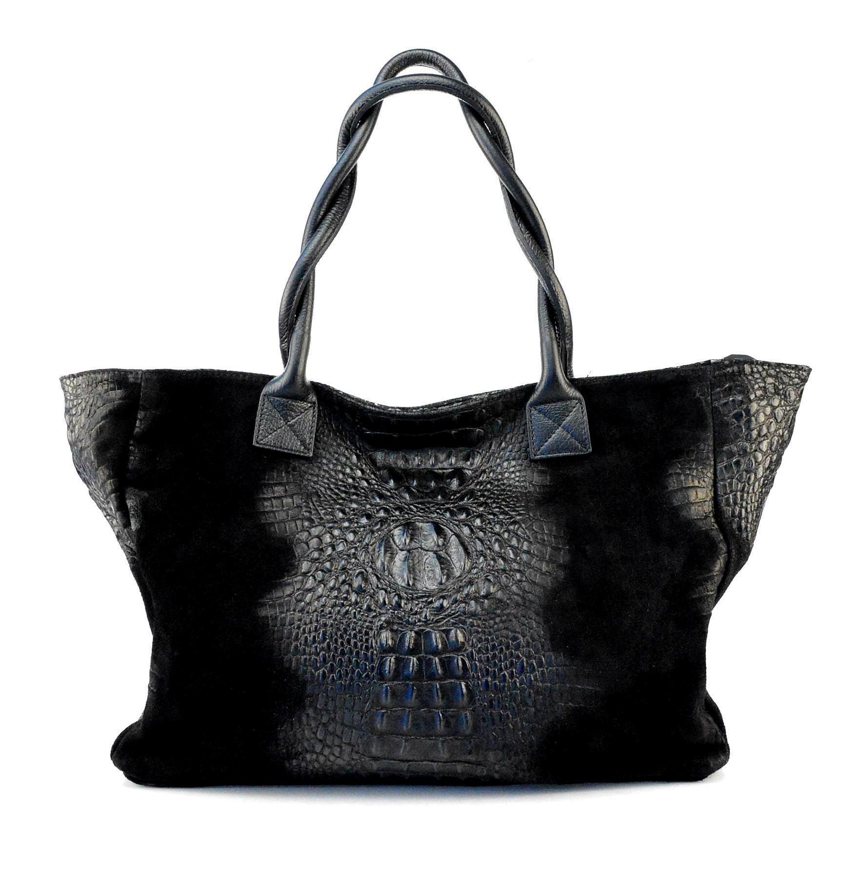 Kožená velká krokodýlí černá kabelka na rameno Jeana