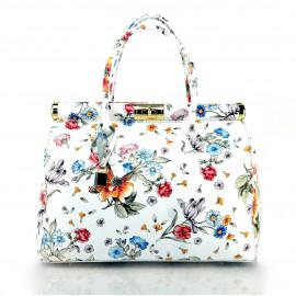Jedinečná luxusní sněhově bílá kožená kabelka do ruky Floral