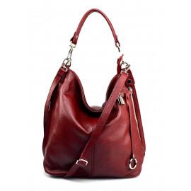 Větší luxusní tmavě červená kožená kabelka přes rameno Denice