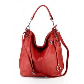Větší luxusní sytě červená kožená kabelka přes rameno Denice