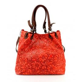 Jedinečná luxusní sytě červená kožená kabelka přes rameno Madeleine Two