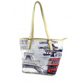 Krémová kabelka s tištěným motivem Daria