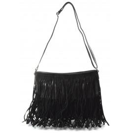Černá menší crossbody kabelka s třásněmi Melanie