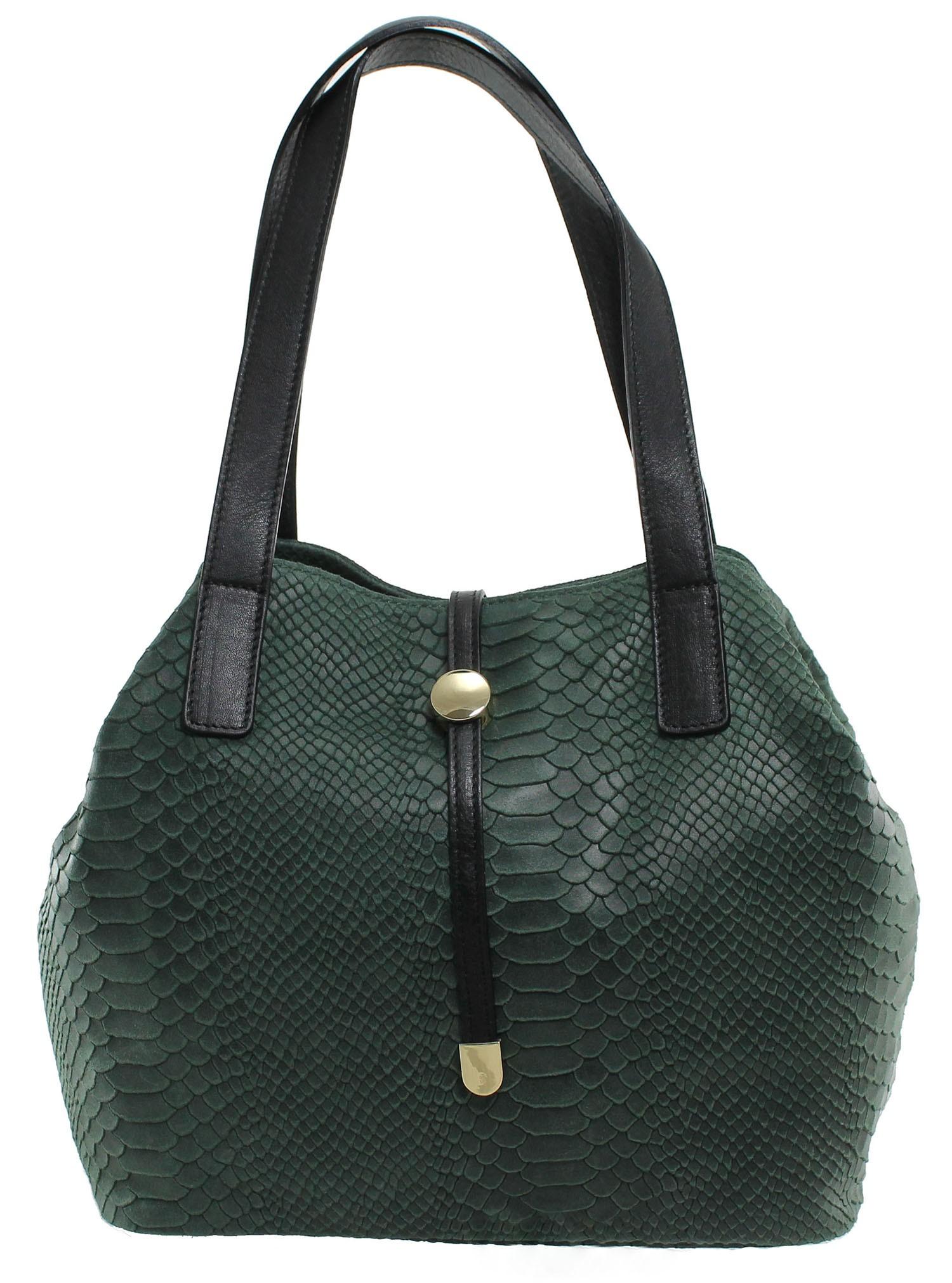 Kožená luxusní menší zelená kabelka Elen