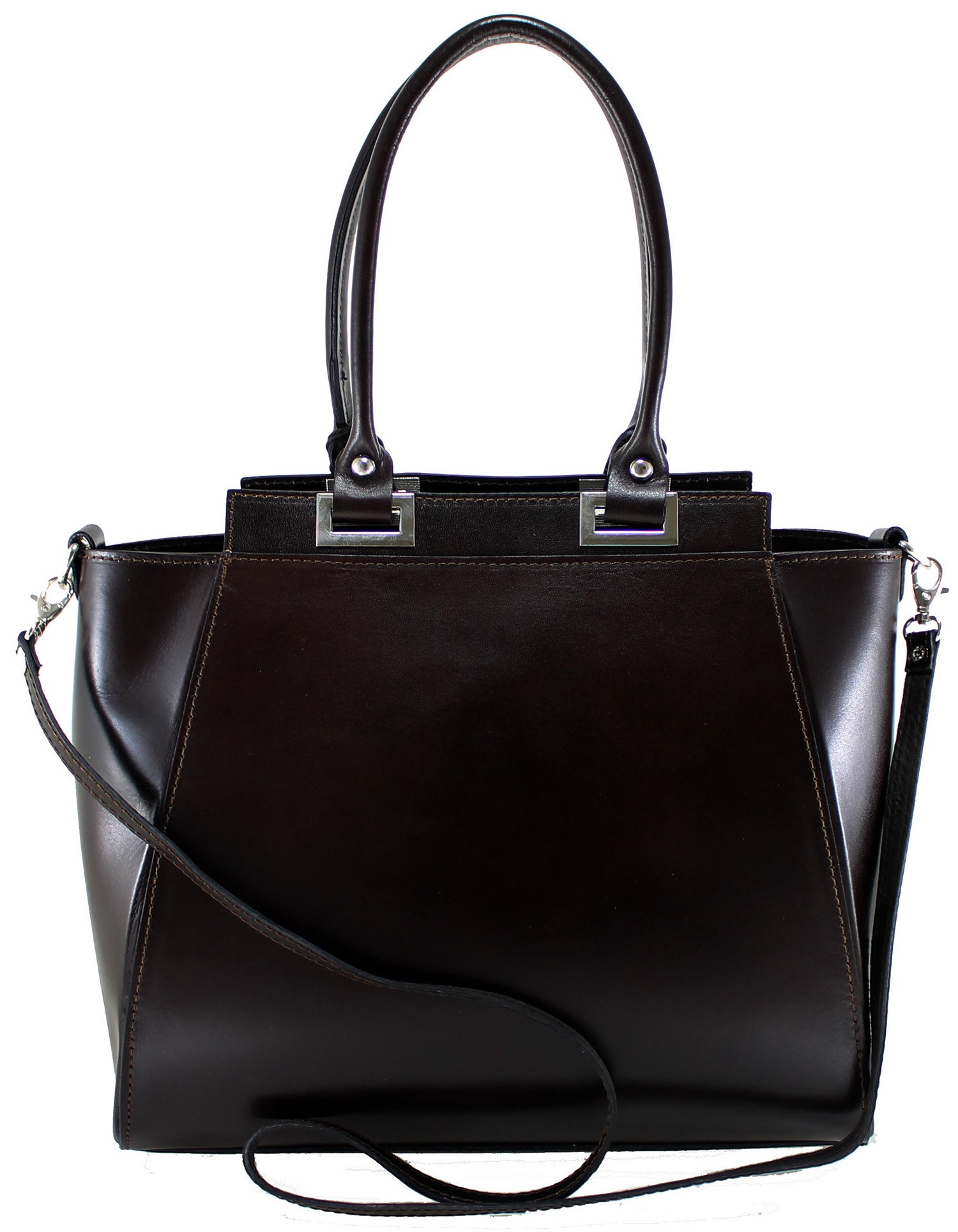 Kožená luxusní velmi tmavě hnědá menší kabelka do ruky Miracle