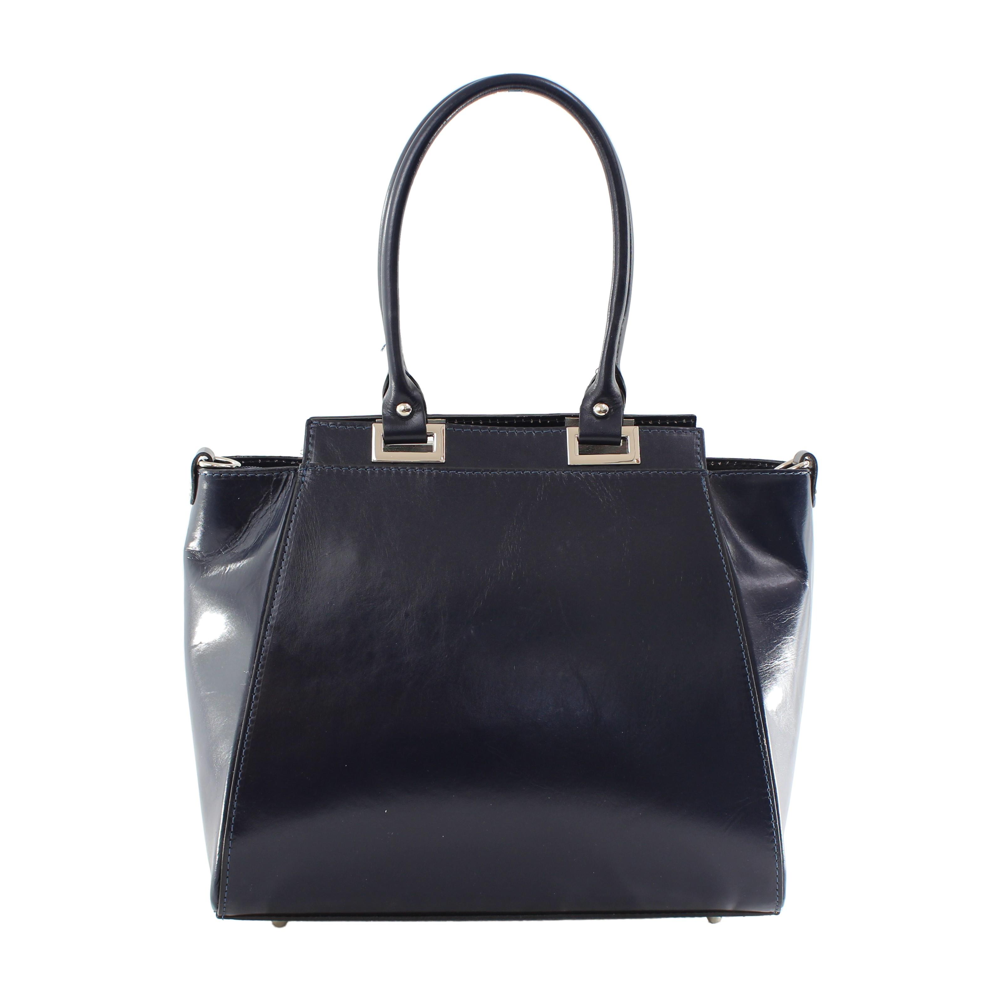 Kožená luxusní modrá menší kabelka do ruky Miracle