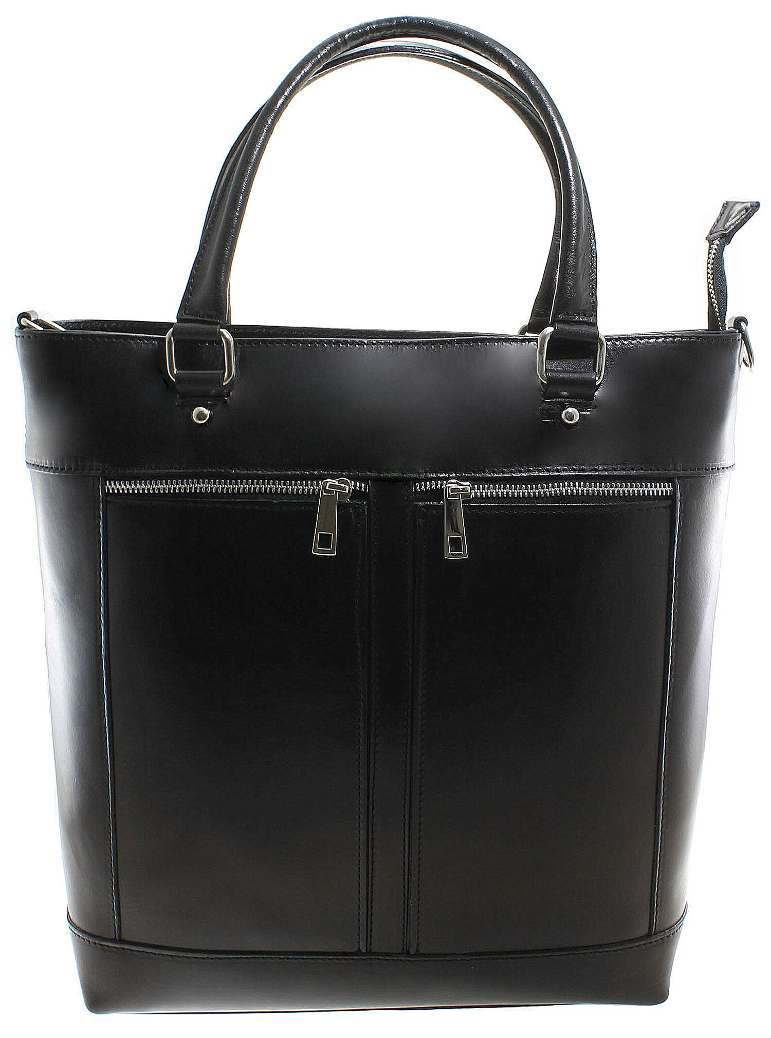 Kožená luxusní vysoká černá kabelka do ruky Tall